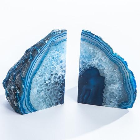 blue agate book ends