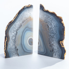 natural agate book ends
