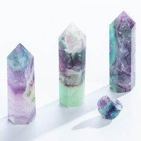 flourite towers, purple and green