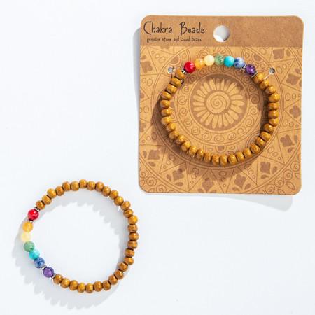 chakra stone and wood bracelet