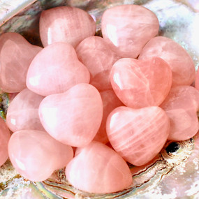 rose quartz hearts, peace, love