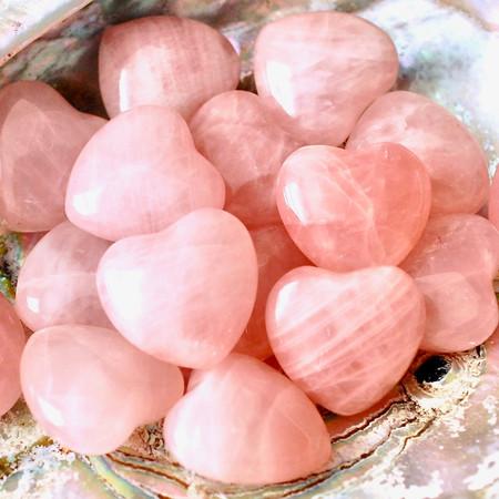 rose quartz hearts, peace, love