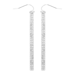 pave bar hook earrings, silver clear