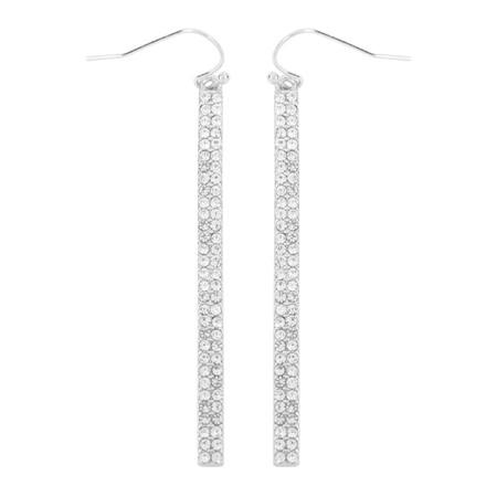 pave bar hook earrings, silver clear