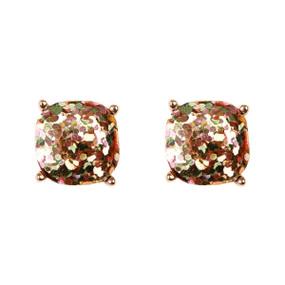 violet cushion glitter earrings