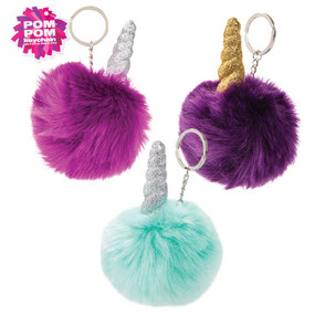 unicorn horn pom pom keychain (assorted), pink, purple, green
