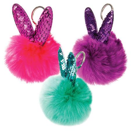 bunny pom pom keychain (assorted), pink purple, green