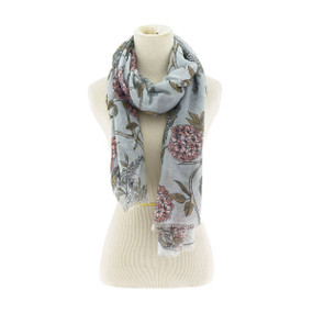 floral mix scarf gray pink