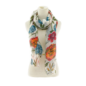floral mix scarf orange blue
