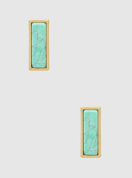 natural stone rectangle stud earrings, turquoise