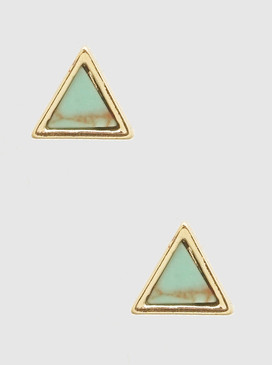 natural stone triangle earrings, turquoise