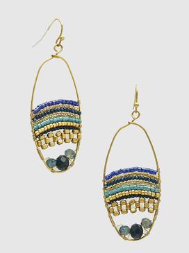 beaded ellipse earrings, blue