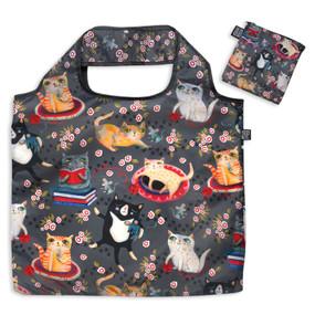 crazy cat fabric foldable bag