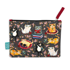 crazy cats fabric pouch