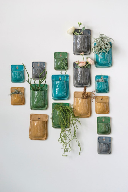 terra cotta wall planter color, grey, mustard, olive, blue wall display