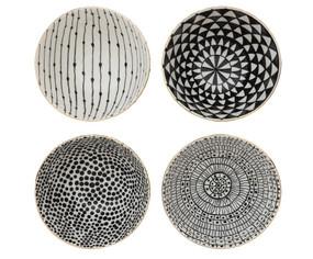 black stoneware bowl with gold trim, beads, mandala, dots, mixed pattern