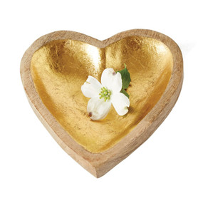 mango wood heart tray, gold leaf finish