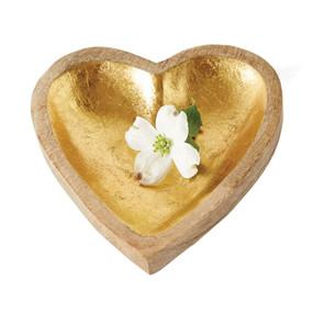 mango wood heart tray, gold leaf finish