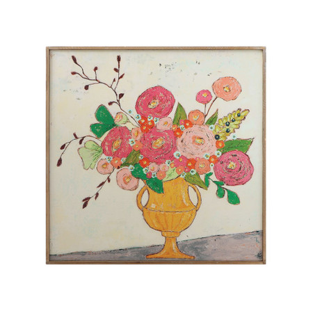 flowers in yellow vase wall decor