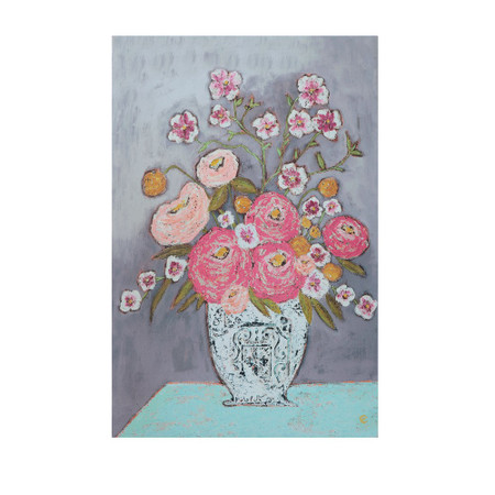 pink flowers in vase wall decor