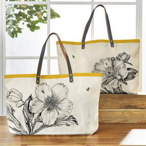 honey bee tote bag, peony, hellabore