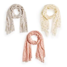 bee pattern scarf, grey, cream, pink