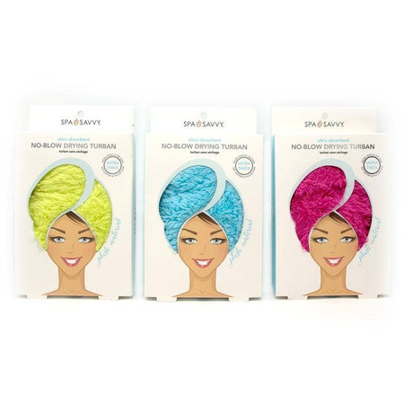 microfiber hair towel, yellow, blue, pink