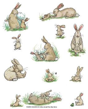 bunny family flour sack towel