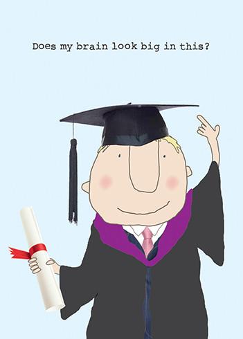 big brain boy graduation card