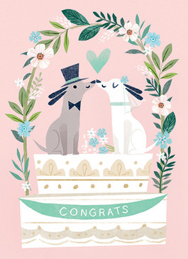 mr. and mrs. dogs wedding card