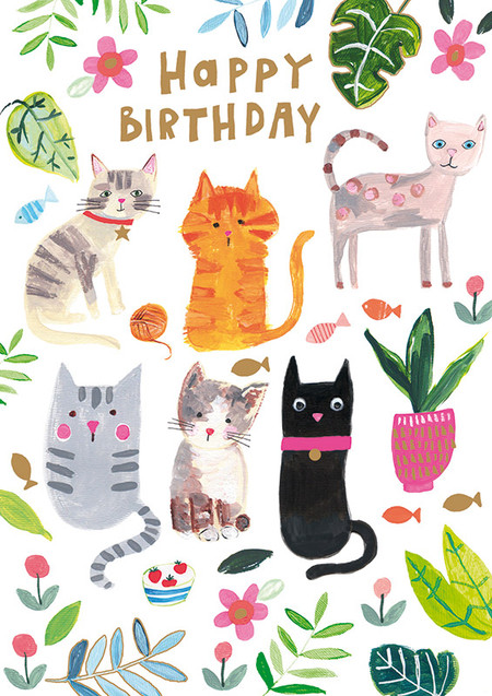 cats and plants birthday card