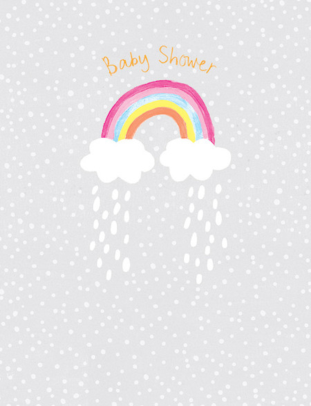 rainbow and clouds baby shower card
