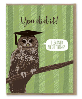 owl learned all things graduation card