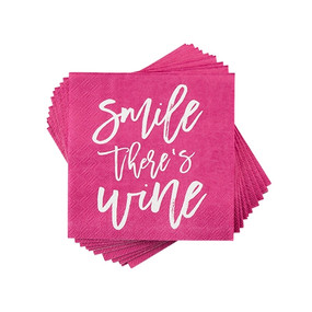 smile there's wine cocktail napkins
