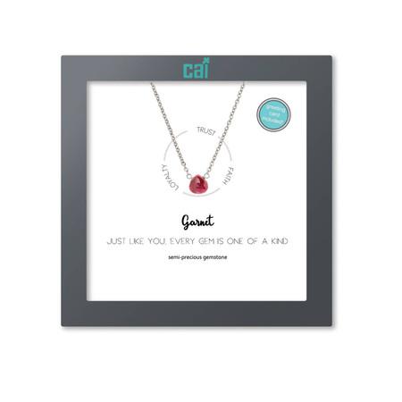 silver dainty heart gemstone necklace, January, garnet