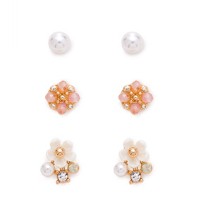 gold stud earring set, pink pearl