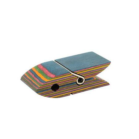 pakka wood bag clip rainbow