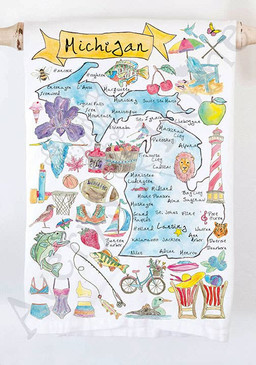 michigan state map tea towel