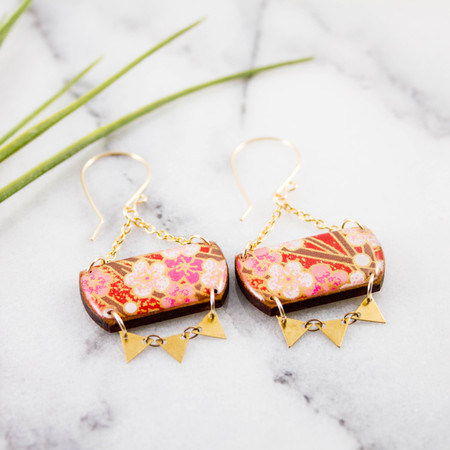 festival drop earrings - red cherry blossom