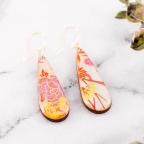 teardrop spring floral earrings