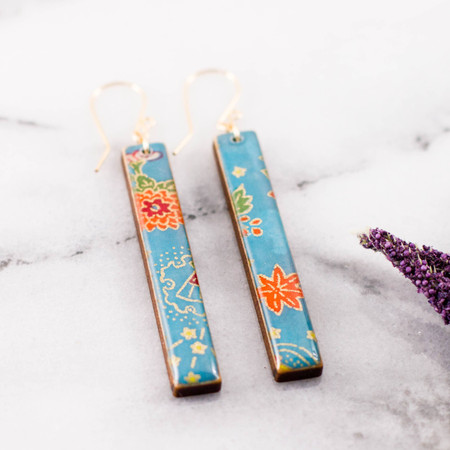 cerulean floral bar earrings