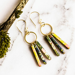 petite fringe earrings - green and blue