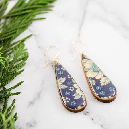 blue and cream vintage floral teardrop earrings