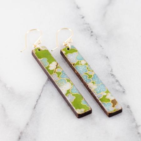 green floral bar earrings