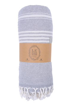 asena peshtemal cotton beach towel, grey