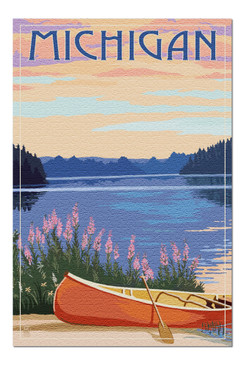 michigan canoe and lake 1000 piece puzzle