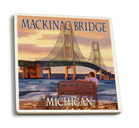 mackinac bridge sunset coaster