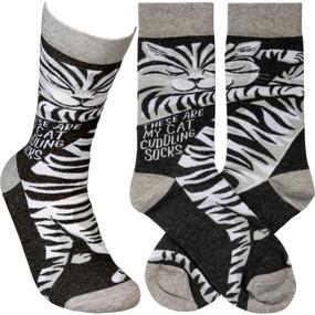 cat cuddling womens socks