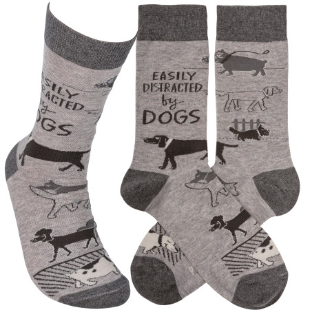 easily distracted by dogs womens socks