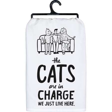 the cats are in charge dish towel